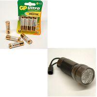 linterna, pilas y cargadores de pilas