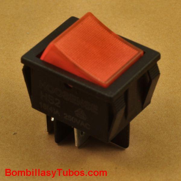 Interruptor rectangular 2 polos con piloto