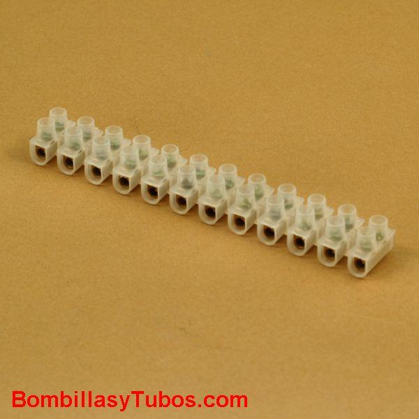 Regleta de conexión 6mm con tornillos. Tira de 12