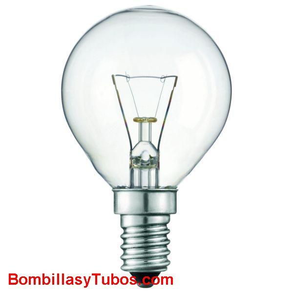Bombilla ESFERICA CLARA E14 230v 25w - Lampara incandescente  de forma esferica y rosca pequeña e-14 de 230v y 25w