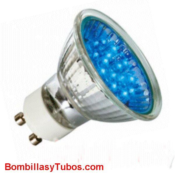 Lampara LED par 16 GU10 1w AZUL - LAMPARA DE LED 1W GU10 AZUL