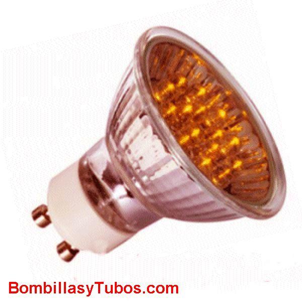 Lampara LED GU10 1w NARANJA - LED GU10 220v 1w NARANJA  base gu10.
