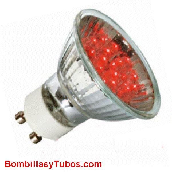 Lampara LED par16 GU10 1w ROJA - Lampara LED GU10 220v 1w ROJA