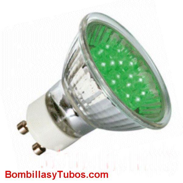 Lampara LED GU10 1w VERDE - LED GU10 par 16  230v 1w VERDE