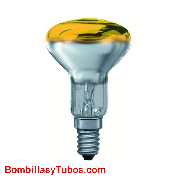 Bombilla R50 e14 230v 25w amarilla - Lampara incandescente reflectora 50mm e14 230v 25w amarilla