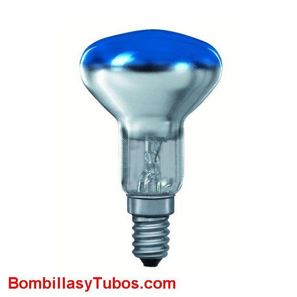 Bombilla R50 e14 230v 25w azul - Lampara incandescente reflectora 50mm e14 230v 25w azul