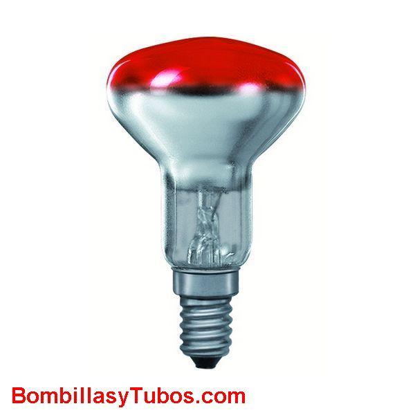 Bombilla R50 e14 230v 25w roja - Lampara incandescente reflectora 50mm e14 230v 25w roja