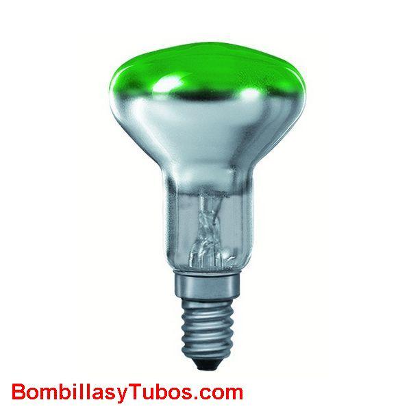 Bombilla R50 e14 230v 25w verde - Lampara incandescente reflectora 50mm e14 230v 25w verde