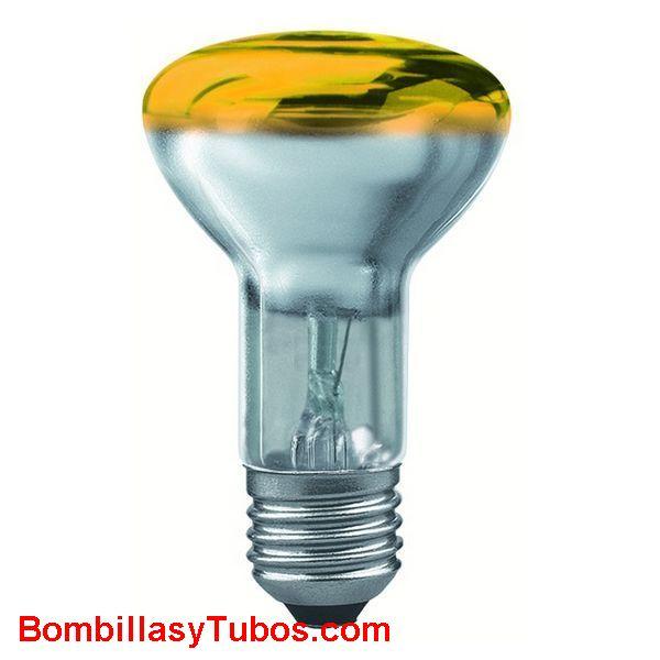 Bombilla R63 e27 230v 40w amarilla - Lampara incandescente reflectora 63mm e27 230v 40w amarilla