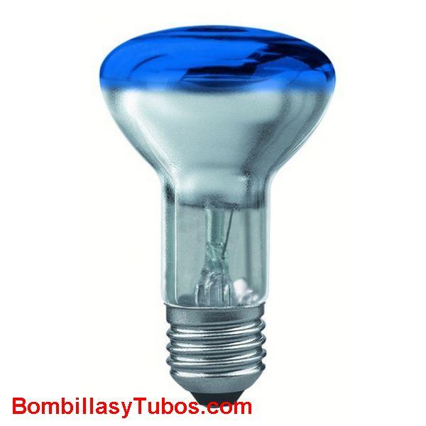 Bombilla R63 e27 230v 40w azul - Lampara incandescente reflectora 63mm e27 230v 40w azul