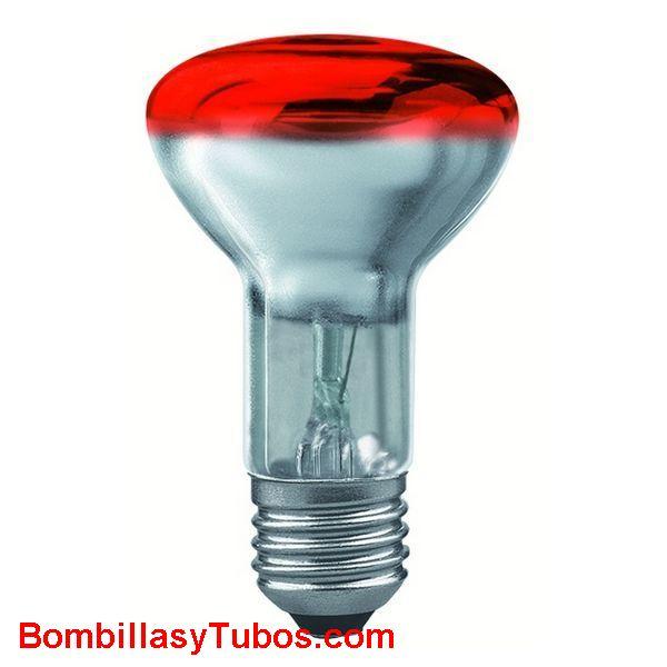 Bombilla R63 e27 230v 40w roja - Lampara incandescente reflectora 63mm e27 230v 40w roja
