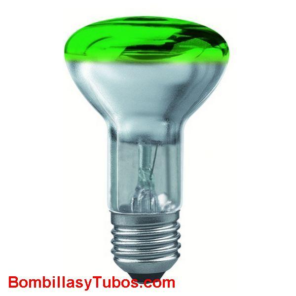 Bombilla R63 e27 230v 40w verde - lampara incandescente reflectora 63mm e27 230v 40w verde