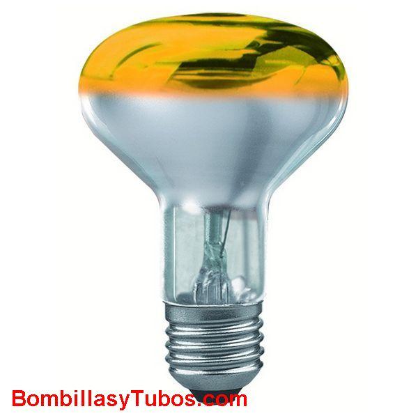 Bombilla R80 e27 230v 60w amarilla - lampara incandescente reflectora 80mm e27 230v 60w amarilla