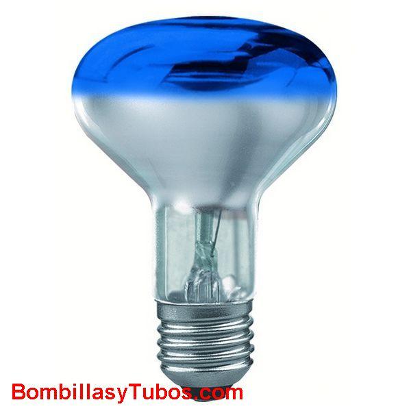 Bombilla R80 e27 230v 60w azul - Lampara incandescente reflectora 80mm e27 230v 60w azul
