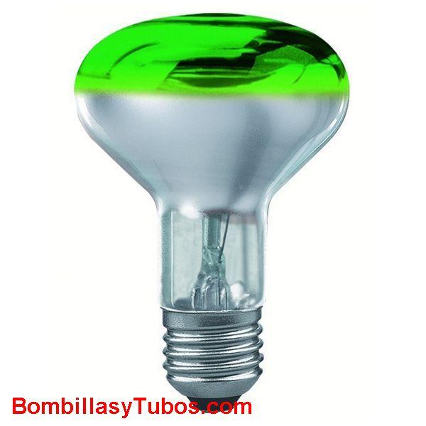 Bombilla R80 e27 230v 60w verde - Lampara incandescente  reflectora 80mm e27 230v 60w verde