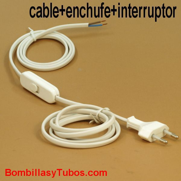 Conexion. cable+interruptor+clavija blanco - Cable con interrupor y enchufe 200cm  blanco