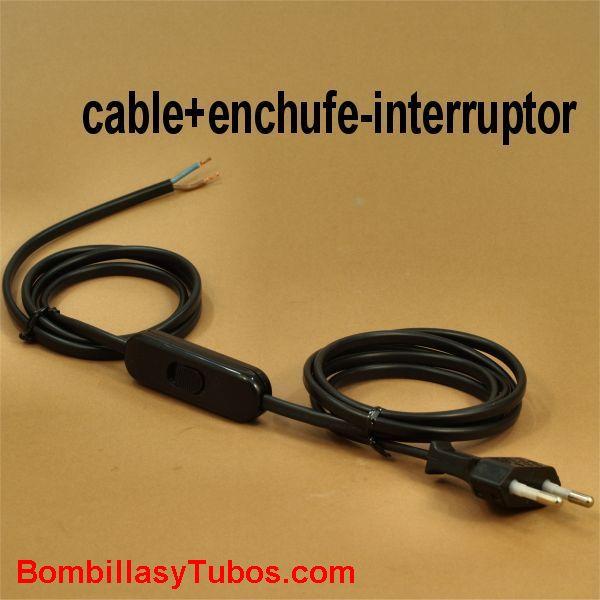 Conexion. cable+interruptor+clavija negro - Cable con interrupor y enchufe 198 cm negro