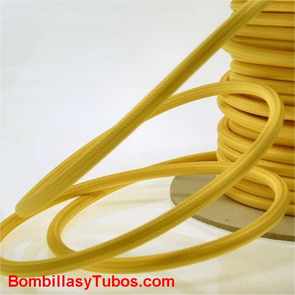 Cable forrado tela 2x1mm Amarillo - Cable 2x1 entelado amarillo  venta por metros