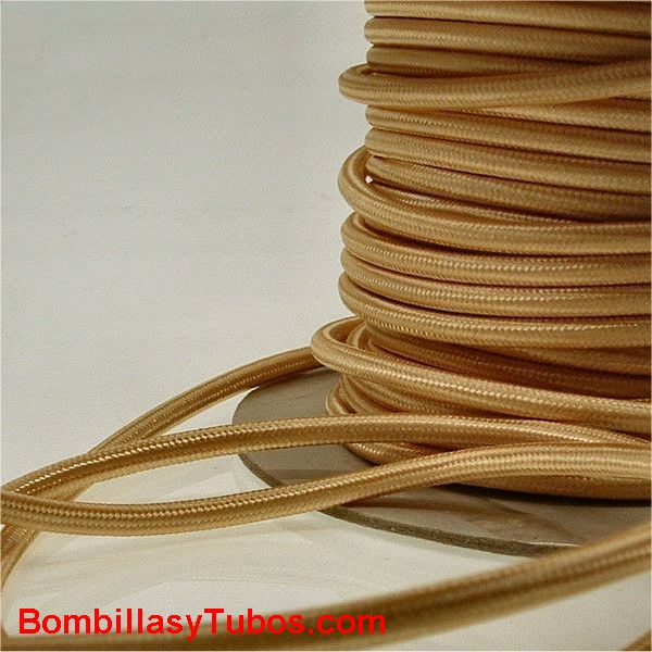 Cable forrado tela 2x1mm dorado
