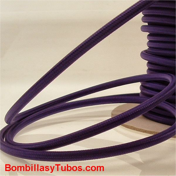 Cable fotrrado tela 2x1mm morado