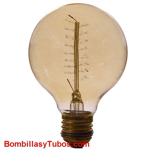 RUSTICA GLOBO ORO 35w - Bombilla de filamento decorativo imitando a las bombillas antiguas. en forma de globo y filamento en espiral
