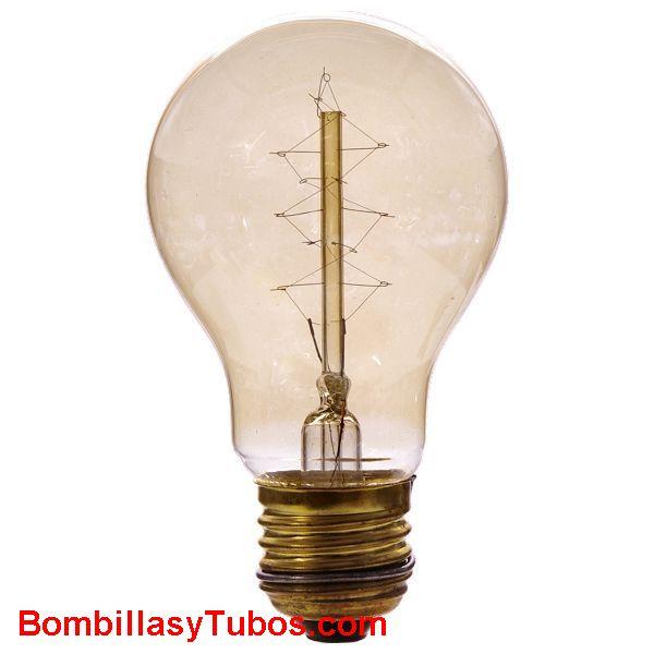 Calex RUSTICA ESTANDAR ORO 35w - Bombilla de filamento decorativo imitando a las bombillas antiguas. de forma estandar y filamento en espiral