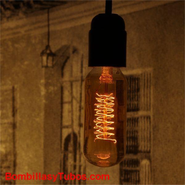 Lampara RUSTICA TUBULON ORO 35w - Bombilla de filamento decorativo imitando a las bombillas antiguas. en forma de tubo y filamento en espiral