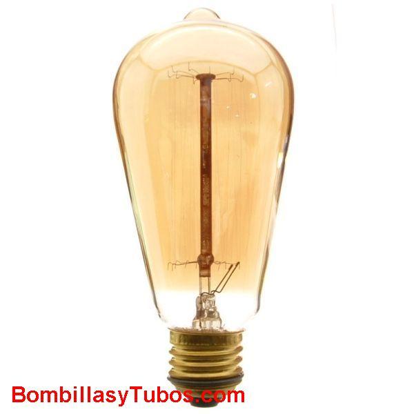 Calex RUSTICA PEBETON claro 35w - Bombilla de filamento decorativo imitando a las bombillas antiguas con cristal dorado forma pebeton A64