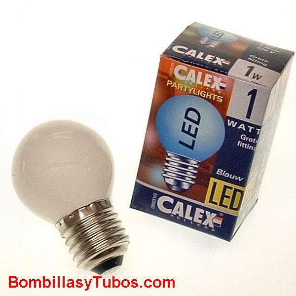 CALEX LED ESFERICA E27 1W AZUL - Bombilla de led 1w azul
