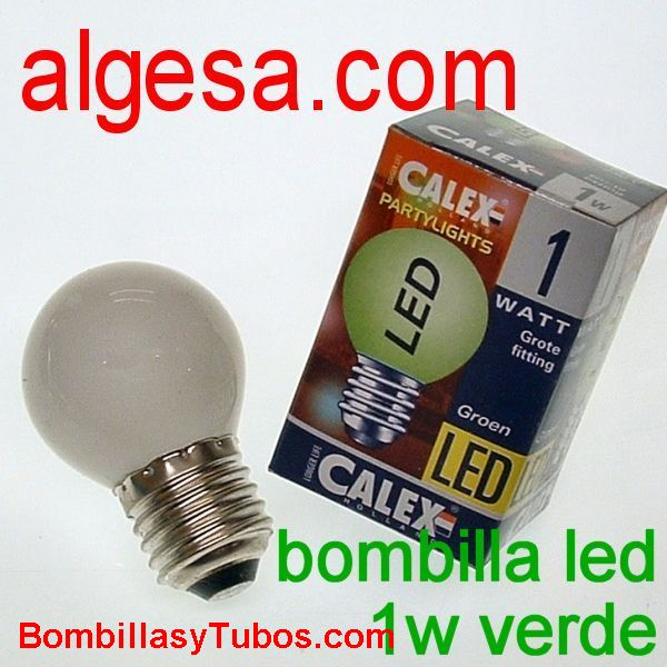 CALEX LED ESFERICA E27 1W VERDE - Bombilla de led 1w verde