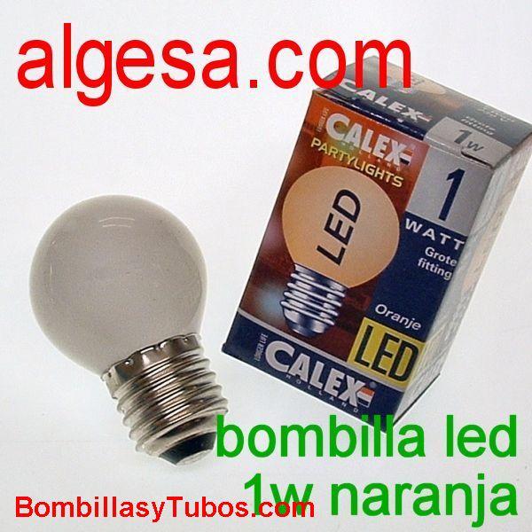 CALEX LED ESFERICA E27 1W NARANJA - Bombilla de led 1w naranja