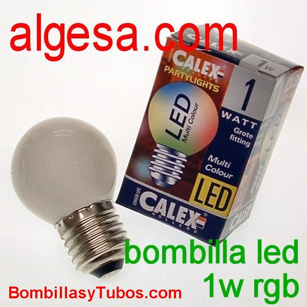 CALEX LED ESFERICA E27 1W RGB - Bombilla de led 1w rgb multicolor