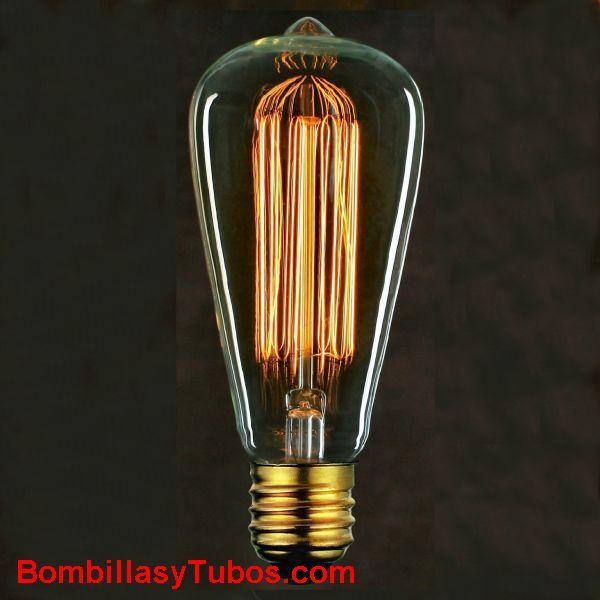Bombilla Filamento carbon Pebeton Malla 230v 40w - Lampara de filamento carbon 230v 40w. Filamento en forma de malla cilindrica