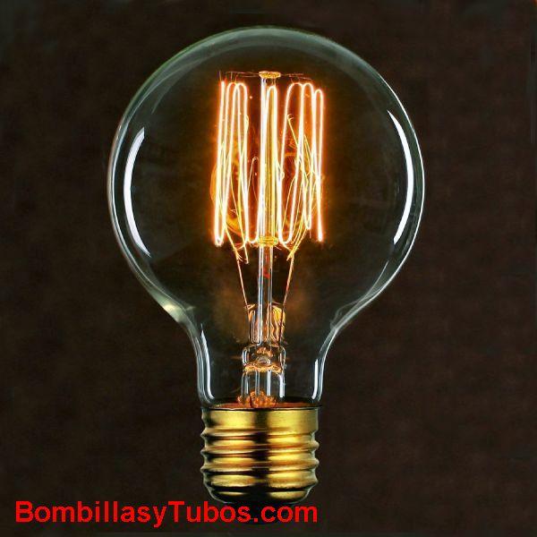 Bombilla filamento carbon GLOBO 80mm malla 230v 40w - Bombilla de filamento decorativo imitando a las bombillas antiguas. en forma de globo y filamento en malla cilindrica
