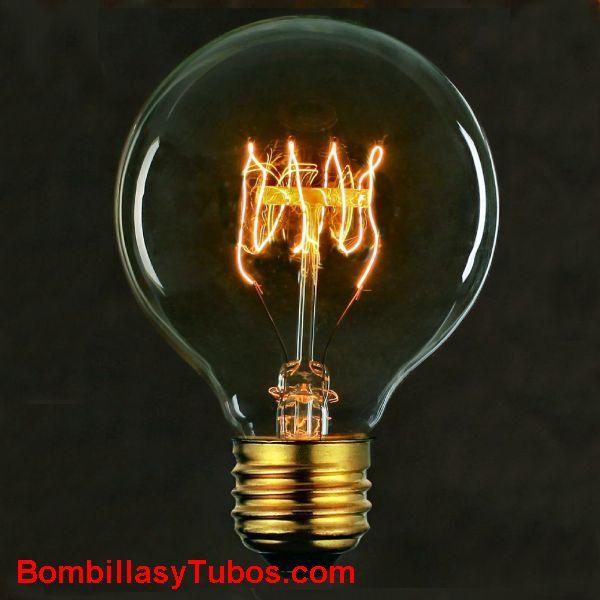 Bombilla filamento carbon GLOBO 80mm espiral H 230v 40w - Bombilla de filamento decorativo imitando a las bombillas antiguas. en forma de globo y filamento en espiral horizontal