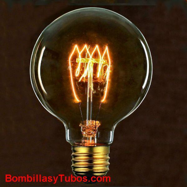 Bombilla filamento carbon  GLOBO 125mm espiral H 230v 40w - Bombilla de filamento decorativo imitando a las bombillas antiguas. en forma de globo y filamento en espiral horizontal