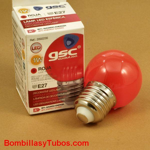 Bombilla led color rojo esferica 1w rosca e27