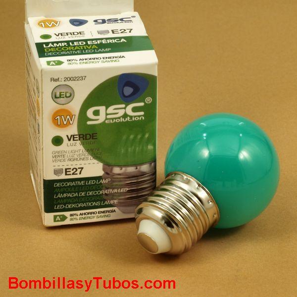 Bombilla led color verde esferica 1w rosca e27