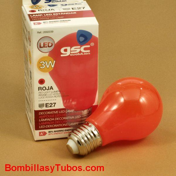 Bombilla led color Rojo 3w rosca e27