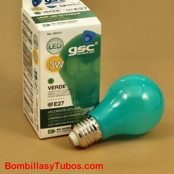 Bombilla led color Verde 3w rosca e27
