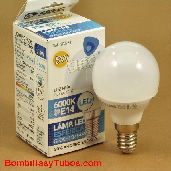 GSC bombilla led esferica E14 230v 5w 6000k 470 lumenes