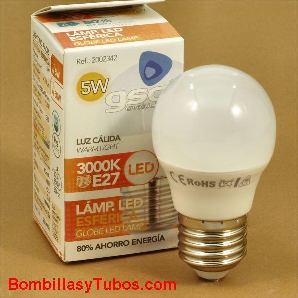 GSC bombilla led esferica E27 230v 5w 3000k 470 lumenes
