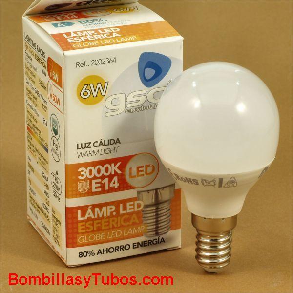 GSC bombilla led esferica E14 230v 6w 3000k 560 lumenes