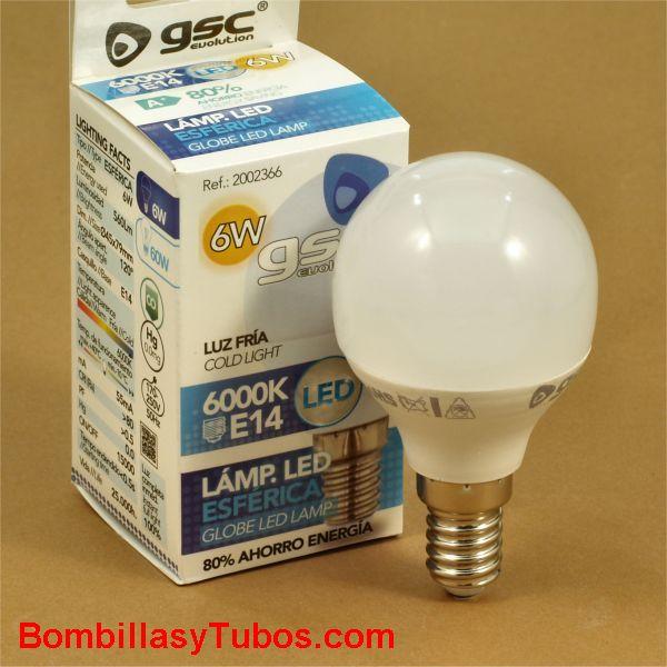 GSC bombilla led esferica E14 230v 6w 6000k 560 lumenes
