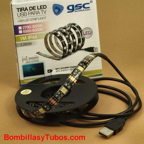 TIRA LED 1m 7,2w USB 3000k blanco calido