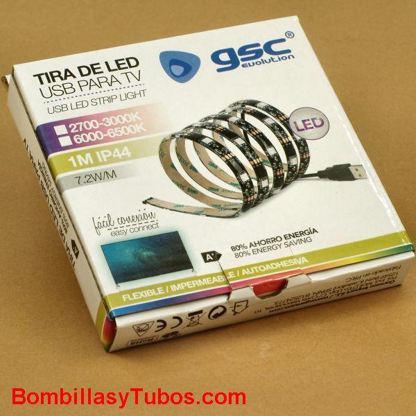 TIRA LED 1m 7,2w USB 6000k blanco calido