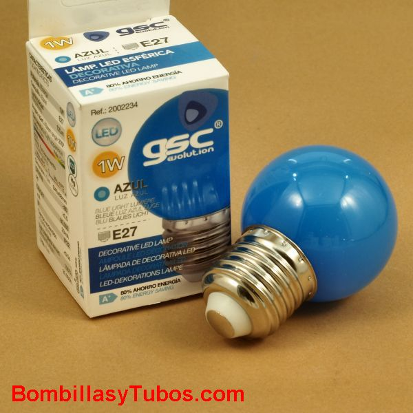 Bombilla led color azul esferica 1w rosca e27