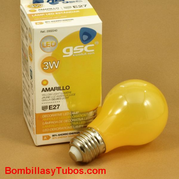 Bombilla led color Amarillo 3w rosca e27 - Bombilla de led de 3w color amarillo  rosca E27 para guirnaldas, fiestas, decoracion