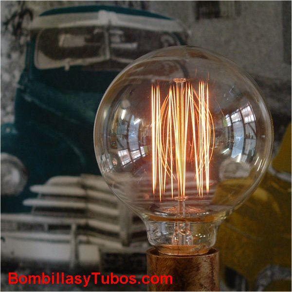 Bombilla filamento carbon  GLOBO 95mm 230v 40w claro - Bombilla de filamento imitando a las bombillas antiguas. Forma de globo y filamento en malla cilindrica alrededor del soporte