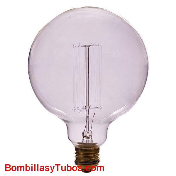 Bombilla incandescente filamento GLOBO 125mm malla 230v 40w - Bombilla de filamento decorativo imitando a las bombillas antiguas. en forma de globo y filamento en malla cilindrica alrededor del soporte